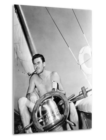 Errol Flynn Relaxing on His Yacht, October 20, 1937--Metal Print