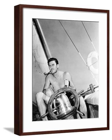 Errol Flynn Relaxing on His Yacht, October 20, 1937--Framed Art Print