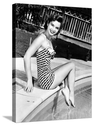 Debbie Reynolds Poolside, 1954--Stretched Canvas Print