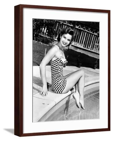 Debbie Reynolds Poolside, 1954--Framed Art Print