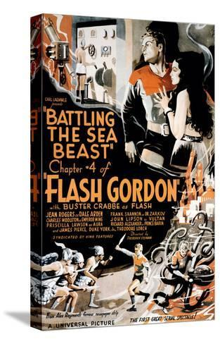 Flash Gordon, Larry 'Buster' Crabbe In 'Chapter 4: Battling the Sea Beast', 1936--Stretched Canvas Print