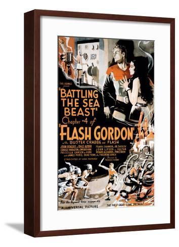 Flash Gordon, Larry 'Buster' Crabbe In 'Chapter 4: Battling the Sea Beast', 1936--Framed Art Print