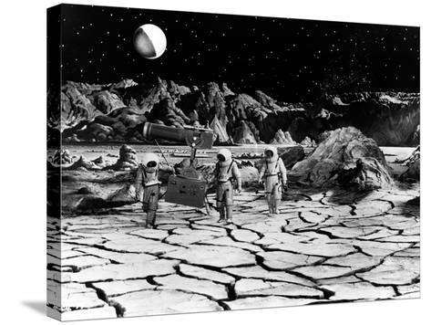 Destination Moon, Astronauts Explore The Lunar Terrain, 1950--Stretched Canvas Print