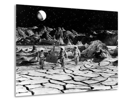 Destination Moon, Astronauts Explore The Lunar Terrain, 1950--Metal Print
