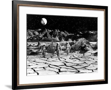 Destination Moon, Astronauts Explore The Lunar Terrain, 1950--Framed Art Print