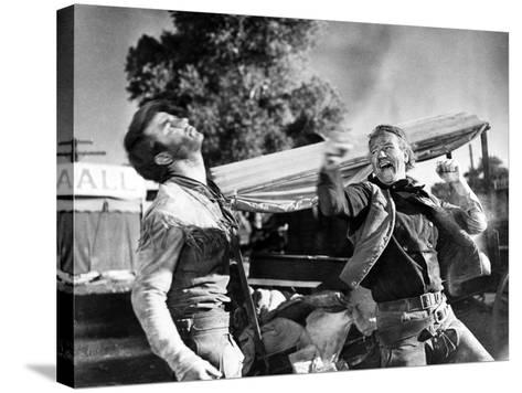 Red River, Montgomery Clift, John Wayne, 1948--Stretched Canvas Print