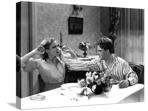 The Public Enemy, Mae Clarke, James Cagney, 1931, Domestic Fight With Grapefruit--Stretched Canvas Print