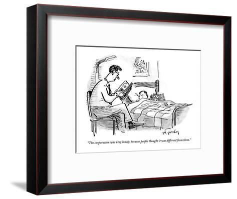 A father tucks his son into bed with a bedtime story about the corporation - New Yorker Cartoon-Mike Twohy-Framed Art Print