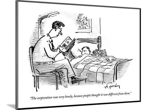 A father tucks his son into bed with a bedtime story about the corporation - New Yorker Cartoon-Mike Twohy-Mounted Premium Giclee Print