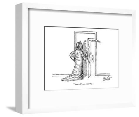 """""""Take a wild guess, butter boy."""" - New Yorker Cartoon-Eric Lewis-Framed Art Print"""