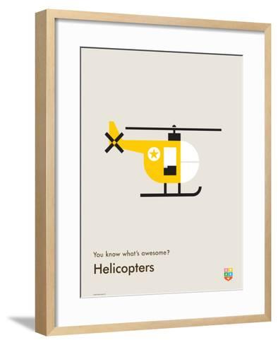 You Know What's Awesome? Helicopters (Gray)-Wee Society-Framed Art Print