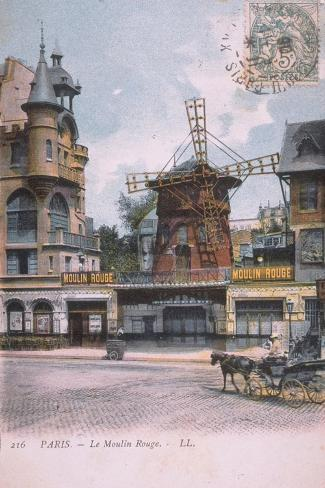1906 carte postale Moulin Rouge--Stretched Canvas Print