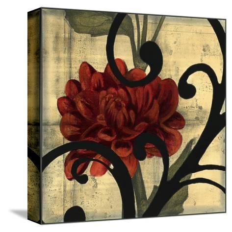 Dahlias and Scrolls I-Jennifer Goldberger-Stretched Canvas Print