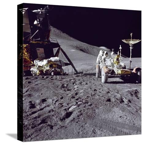 Apollo 15 Astronaut James Irwin Loads Lunar Roving Vehicle at the Hadley-Apennine Landing Site--Stretched Canvas Print