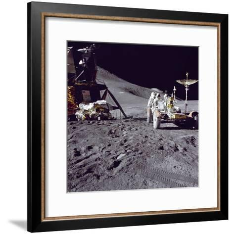 Apollo 15 Astronaut James Irwin Loads Lunar Roving Vehicle at the Hadley-Apennine Landing Site--Framed Art Print