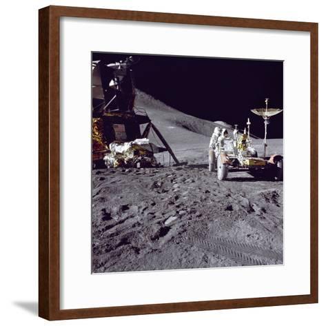 Apollo 15 Astronaut James Irwin Loads Lunar Roving Vehicle at the Hadley-Apennine Landing Site--Framed Art Print