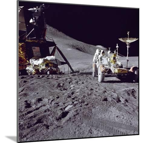 Apollo 15 Astronaut James Irwin Loads Lunar Roving Vehicle at the Hadley-Apennine Landing Site--Mounted Photo