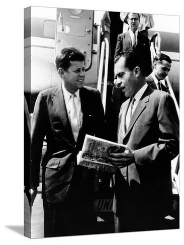 Vice-President Richard Nixon and Senator John Kennedy at Chicago's Midway Airport--Stretched Canvas Print