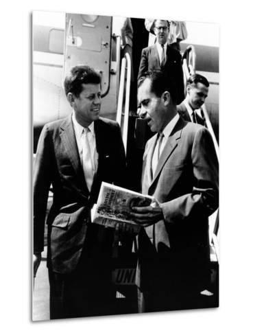 Vice-President Richard Nixon and Senator John Kennedy at Chicago's Midway Airport--Metal Print
