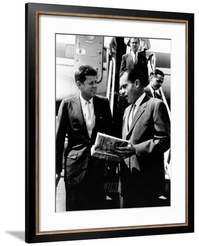 Vice-President Richard Nixon and Senator John Kennedy at Chicago's Midway Airport--Framed Art Print