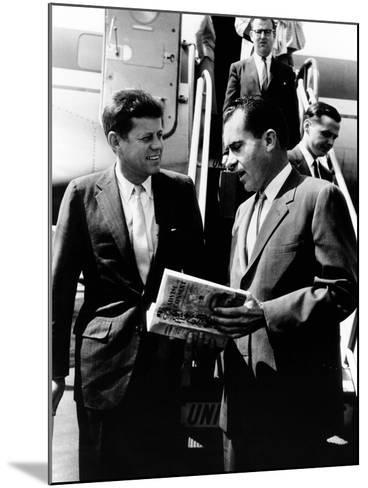 Vice-President Richard Nixon and Senator John Kennedy at Chicago's Midway Airport--Mounted Photo