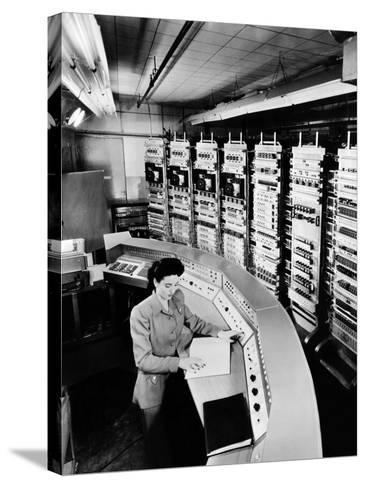 Female Operator at the Console of the 'Raydac', Raytheon Digital Automatic Computer, August 2, 1952--Stretched Canvas Print