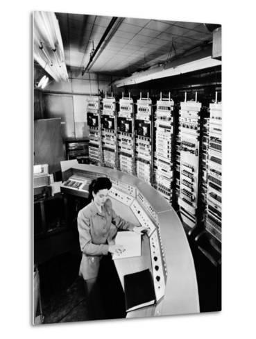 Female Operator at the Console of the 'Raydac', Raytheon Digital Automatic Computer, August 2, 1952--Metal Print