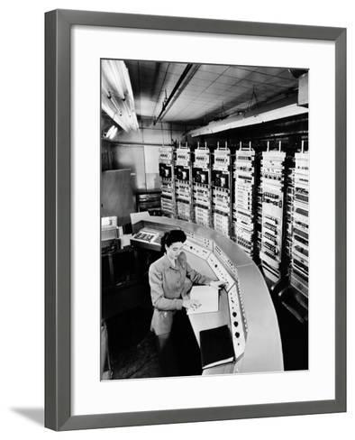 Female Operator at the Console of the 'Raydac', Raytheon Digital Automatic Computer, August 2, 1952--Framed Art Print