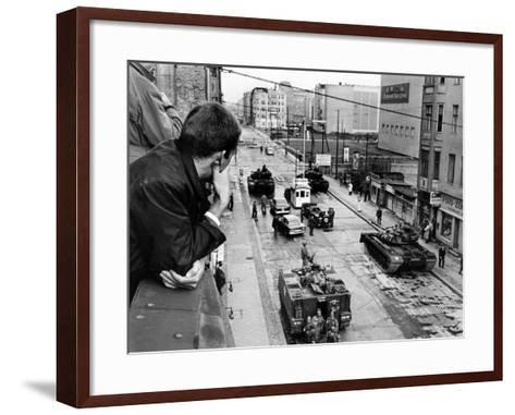 American Tanks at the Friedrichstrasse Checkpoint Crossing Through the Berlin Wall--Framed Art Print