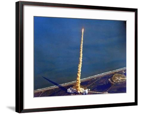 Space Shuttle Columbia on a Pillar of Exhaust as it Begins its Ten-Day Mission on Oct 22, 1992--Framed Art Print