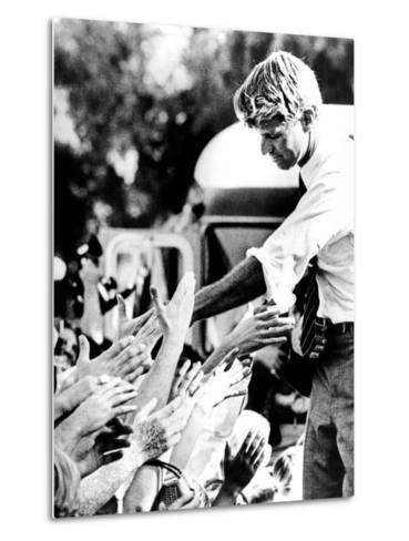 Robert Kennedy Shaking Hands During 1968 Campaign--Metal Print
