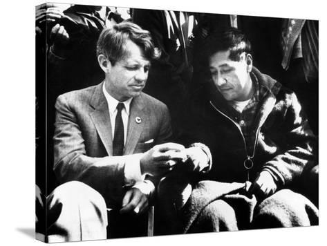 Cesar Chavez Ends His Hunger Strike with Sen Robert Kennedy--Stretched Canvas Print