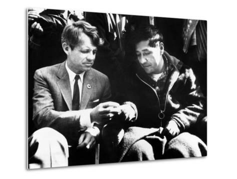 Cesar Chavez Ends His Hunger Strike with Sen Robert Kennedy--Metal Print