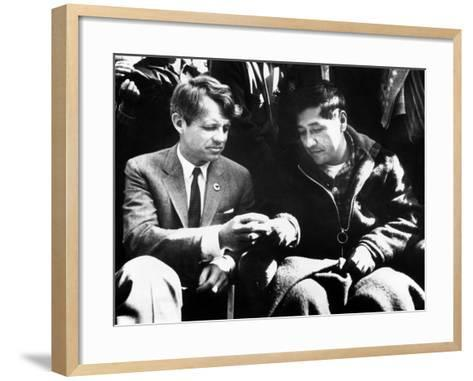 Cesar Chavez Ends His Hunger Strike with Sen Robert Kennedy--Framed Art Print