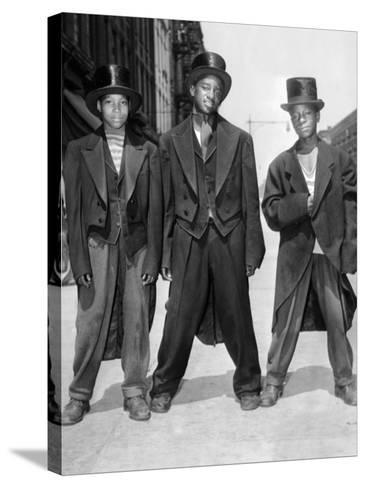 The African American Teenagers with Tuxedos and Top Hats During the August 1943 Riots in Harlem--Stretched Canvas Print