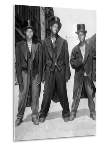 The African American Teenagers with Tuxedos and Top Hats During the August 1943 Riots in Harlem--Metal Print