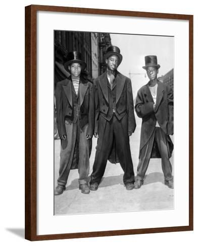 The African American Teenagers with Tuxedos and Top Hats During the August 1943 Riots in Harlem--Framed Art Print