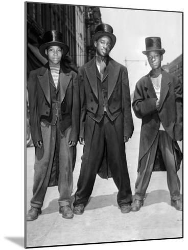 The African American Teenagers with Tuxedos and Top Hats During the August 1943 Riots in Harlem--Mounted Photo