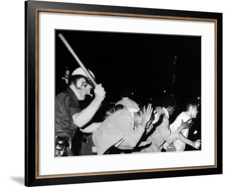 Police Club Demonstrators in Harlem on July 20, 1964--Framed Art Print