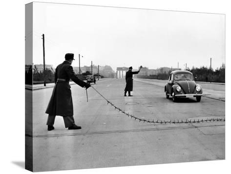 East Berlin Customs Police Stopping a Volkswagen on Charlettenburger Chaussee, Oct 26, 1952--Stretched Canvas Print