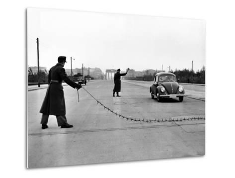 East Berlin Customs Police Stopping a Volkswagen on Charlettenburger Chaussee, Oct 26, 1952--Metal Print