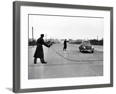 East Berlin Customs Police Stopping a Volkswagen on Charlettenburger Chaussee, Oct 26, 1952--Framed Art Print