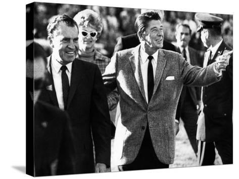 Calif Gov Ronald Reagan Escorts Pres-Elect Richard Nixon across Field at Halftime of Rose Bowl Game--Stretched Canvas Print