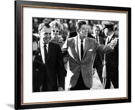 Calif Gov Ronald Reagan Escorts Pres-Elect Richard Nixon across Field at Halftime of Rose Bowl Game--Framed Art Print
