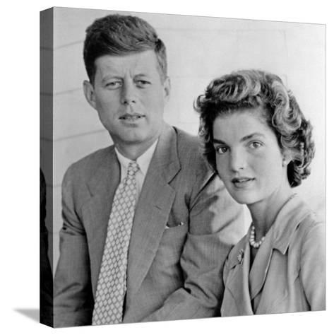 Engagement Portrait of John Kennedy and Jacqueline Bouvier--Stretched Canvas Print
