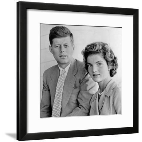 Engagement Portrait of John Kennedy and Jacqueline Bouvier--Framed Art Print