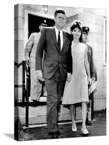 Pres and Jacqueline Kennedy Walk Hand-In-Hand after Death of Infant Son, Patrick Bouvier Kennedy--Stretched Canvas Print