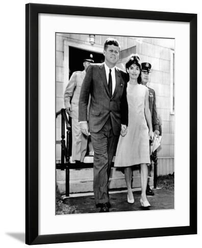 Pres and Jacqueline Kennedy Walk Hand-In-Hand after Death of Infant Son, Patrick Bouvier Kennedy--Framed Art Print