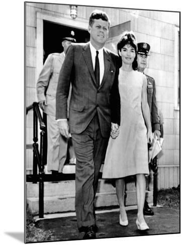 Pres and Jacqueline Kennedy Walk Hand-In-Hand after Death of Infant Son, Patrick Bouvier Kennedy--Mounted Photo