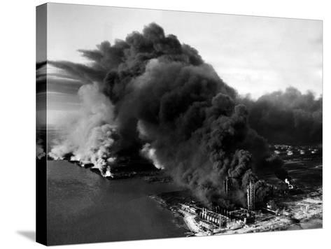 Oily Black Smoke Rises from the Texas City Monsanto Chemical Company Plant--Stretched Canvas Print